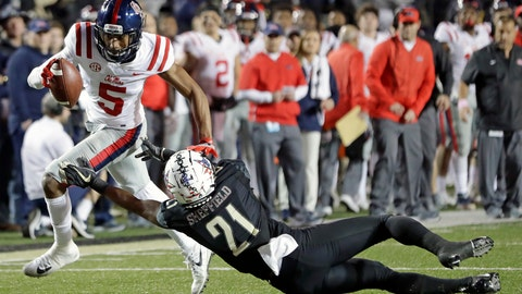 <p>               Mississippi wide receiver DaMarkus Lodge (5) gets past Vanderbilt cornerback Donovan Sheffield (21) in the first half of an NCAA college football game Saturday, Nov. 17, 2018, in Nashville, Tenn. (AP Photo/Mark Humphrey)             </p>