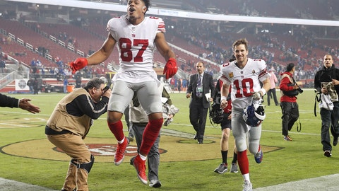 <p>               New York Giants wide receiver Sterling Shepard (87) and quarterback Eli Manning (10) celebrate as they run off the field after an NFL football game against the San Francisco 49ers in Santa Clara, Calif., Monday, Nov. 12, 2018. (AP Photo/Tony Avelar)             </p>