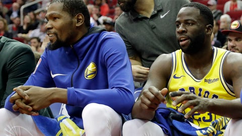 <p>               Golden State Warriors' Kevin Durant, left, and Draymond Green sit on the bench during the first half of an NBA basketball game against the Houston Rockets Thursday, Nov. 15, 2018, in Houston. (AP Photo/David J. Phillip)             </p>