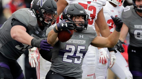 <p>               FILE - In this Oct. 27, 2018, file photo, Northwestern running back Isaiah Bowser (25) celebrates with J.B. Butler after scoring a touchdown against Wisconsin during the second half of an NCAA college football game in Evanston, Ill. Bowser appears to be settling in as the Wildcats' No. 1 running back with back-to-back 100-yard games. He has run for 225 yards and his first three touchdowns the past two weeks after getting just two yards on two attempts in his first three games. He followed up a breakout outing against Rutgers with 117 yards and a TD against Wisconsin. Northwestern plays Notre Dame this week. (AP Photo/Nam Y. Huh, File)             </p>