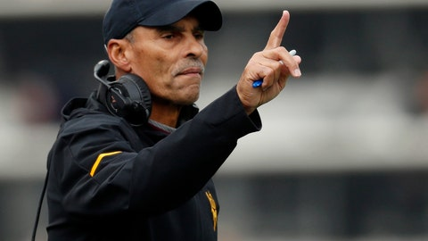 <p>               FILE - In this Oct. 6, 2018, file photo, Arizona State head coach Herm Edwards gestures during the first half of an NCAA college football game in Boulder, Colo. Arizona State heads to Oregon this weekend needing a win to stay alive in the Pac-12 South. (AP Photo/David Zalubowski, File)             </p>