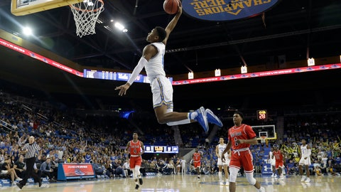 <p>               UCLA guard Jaylen Hands goes up for a dunk against Saint Francis during the second half of an NCAA college basketball game Friday, Nov. 16, 2018, in Los Angeles. (AP Photo/Marcio Jose Sanchez)             </p>