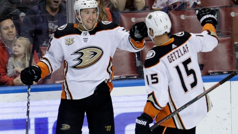 <p>               Anaheim Ducks left wing Nick Ritchie, left, celebrates with center Ryan Getzlaf after scoring during the third period of the team's NHL hockey game against the Florida Panthers, Wednesday, Nov. 28, 2018, in Sunrise, Fla. The Ducks won 3-2. (AP Photo/Lynne Sladky)             </p>