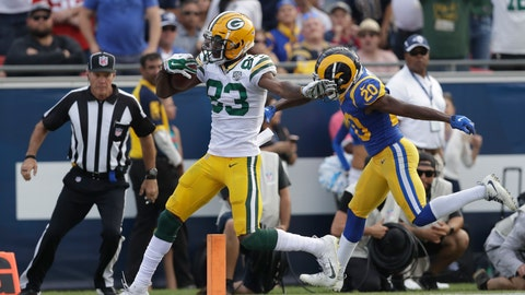 <p>               FILE - In this Oct. 28, 2018, file photo, Green Bay Packers wide receiver Marquez Valdes-Scantling scores a touchdown during the second half of an NFL football game against the Los Angeles Rams in Los Angeles. The rookie out of South Florida is making plays when his number is called. Now, he's about to get more consistent playing time after Geronimo Allison went on injury reserve. Green Bay hosts the Miami Dolphins on Sunday. (AP Photo/Marcio Jose Sanchez)             </p>