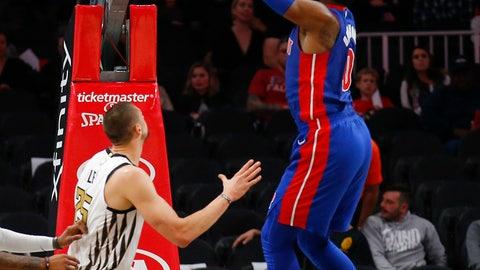 <p>               Detroit Pistons center Andre Drummond (0) dunks during the first half of the team's NBA basketball game against the Atlanta Hawks on Friday, Nov. 9, 2018, in Atlanta. (AP Photo/Todd Kirkland)             </p>