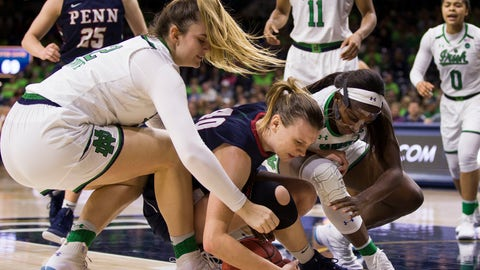 <p>               Pennsylvania's Emily Anderson (40) competes for a loose ball with Notre Dame's Danielle Cosgrove, left, and Jackie Young during the second half of an NCAA college basketball game Monday, Nov. 12, 2018, in South Bend, Ind. Notre Dame won 75-55. (AP Photo/Robert Franklin)             </p>
