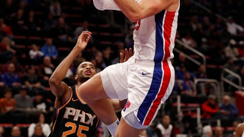 <p>               Detroit Pistons forward Blake Griffin makes a layup during the first half of an NBA basketball game against the Phoenix Suns, Sunday, Nov. 25, 2018, in Detroit. (AP Photo/Carlos Osorio)             </p>