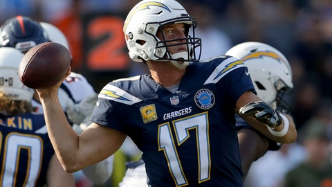 <p>               Los Angeles Chargers quarterback Philip Rivers passes against the Denver Broncos during the first half of an NFL football game Sunday, Nov. 18, 2018, in Carson, Calif. (AP Photo/Marcio Jose Sanchez)             </p>