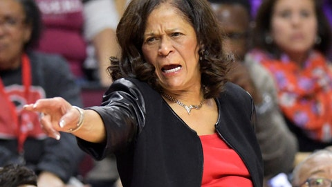 <p>               Rutgers head coach C. Vivian Stringer directs her team during the second quarter of an NCAA college basketball game against Central Connecticut, Tuesday, Nov. 13, 2018, in Piscataway, N.J. (AP Photo/Bill Kostroun)             </p>