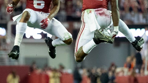 <p>               FILE - In this Saturday, Nov. 24, 2018, file photo, Alabama wide receivers DeVonta Smith (6) and Henry Ruggs III (11) celebrate a touchdown reception by Ruggs during the second half of an NCAA college football game against Auburn in Tuscaloosa, Ala. The Tide hasn't had a Top 15 offense under coach Nick Saban. Enter Tua Tagovailoa. And Jerry Jeudy. And fellow receivers Henry Ruggs III, DeVonta Smith and freshman Jaylen Waddle. Plus tight end Irv Smith Jr. Not to mention tailbacks Damien Harris, Najee Harris and Josh Jacobs.  (AP Photo/Vasha Hunt, File)             </p>