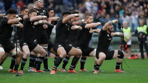 <p>               New Zealand's players perform the Haka prior to the start of the rugby union international match between Italy and New Zealand at the Olympic Stadium in Rome, Saturday, Nov. 24, 2018. (AP Photo/Gregorio Borgia)             </p>