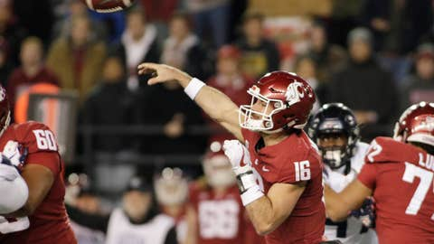 <p>               Washington State quarterback Gardner Minshew II (16) throws a pass during the first half of the team's NCAA college football game against Arizona in Pullman, Wash., Saturday, Nov. 17, 2018. (AP Photo/Young Kwak)             </p>