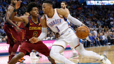 <p>               Oklahoma City Thunder guard Russell Westbrook (0) drives to the basket around Cleveland Cavaliers guard Collin Sexton (2) during the second half of an NBA basketball game in Oklahoma City, Wednesday, Nov. 28, 2018. Oklahoma City won 100-83. (AP Photo/Alonzo Adams)             </p>