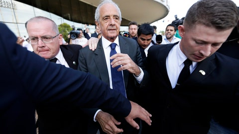 <p>               River Plate's President Rodolfo D'Onofrio, leaves a hotel before meeting Boca Junior's President Daniel Angelici, of Argentina, and Conmebol President, Paraguay's Alejandro Dominguez, at headquarters in Luque, Paraguay, Tuesday, Nov. 27, 2018. The Argentines major club leaders disagreed about the completion of the Copa Libertadores final.(AP Photo/Jorge Saenz)             </p>