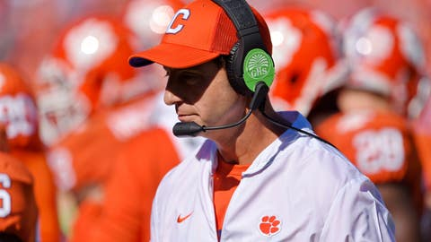 <p>               Clemson head coach Dabo Swinney walks the sidelines during the first half of an NCAA college football game against Louisville, Saturday, Nov. 3, 2018, in Clemson, S.C. (AP Photo/Richard Shiro)             </p>
