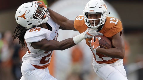 "<p>               FILE - In this Saturday, April 21, 2018 file photo, Texas wide receiver Jerrod Heard (13) is hit by defensive back Jarmarquis Durst (28) after making a catch during the NCAA college football team's Orange-White spring game in Austin, Texas. Once upon a time, Jerrod Heard had ""the juice."" He was the quarterback of the future for the Texas Longhorns and he'd just smashed Vince Young's single-game school for total offense. He could throw. He could run. He could do just about everything. Then all that juice dried up with a whole lot of losing. A fifth-year senior, Heard heads into his final home game this week as a fifth-option wide receiver and special teams guy. (AP Photo/Eric Gay, File)             </p>"