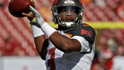 <p>               Tampa Bay Buccaneers quarterback Jameis Winston (3) throws a pass as he warms up before an NFL football game against the San Francisco 49ers Sunday, Nov. 25, 2018, in Tampa, Fla. (AP Photo/Chris O'Meara)             </p>
