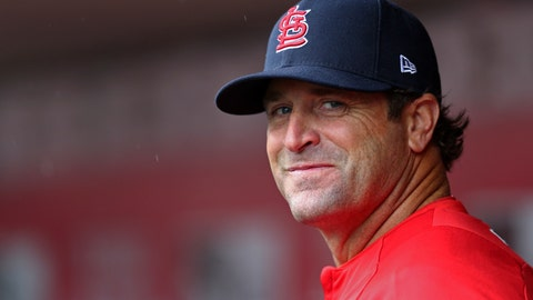 <p>               File-This April 14, 2018, file photo shows former St. Louis Cardinals' manager Mike Matheny standing in the dugout in the first inning of a baseball game against the Cincinnati Reds in Cincinnati. Matheny was hired by Kansas City as a special adviser for player development, putting the former St. Louis Cardinals manager in position as a possible successor to Royals manager Ned Yost. (AP Photo/Aaron Doster, File)             </p>