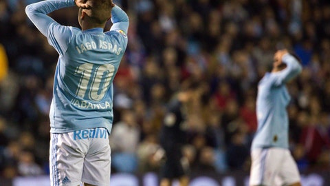 <p>               RC Celta's Iago Aspas reacts during a Spanish La Liga soccer match between RC Celta and Real Madrid at the Balaidos stadium in Vigo, Spain, Sunday, Nov. 11, 2018. (AP Photo/Lalo R. Villar)             </p>
