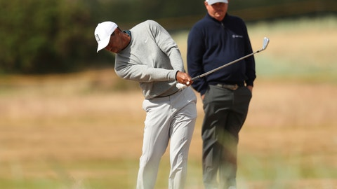 <p>               FILE - In this Wednesday July 18, 2018 file photo, Tiger Woods plays a shot on the 12th fairway as Jason Dufner looks on during a practice round ahead of the British Open Golf Championship in Carnoustie, Scotland. Dufner says winning on the PGA Tour is so hard that anyone winning 2 percent of their events in a long career can be considered for the Hall of Fame. (AP Photo/Jon Super, File)             </p>