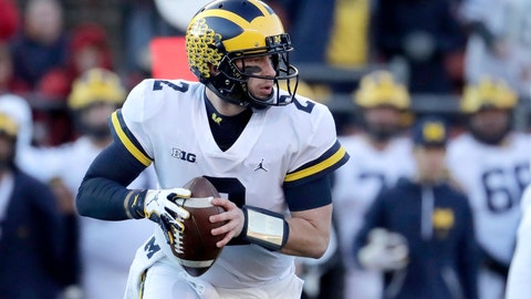 <p>               Michigan quarterback Shea Patterson looks to pass against Rutgers during the first half of an NCAA college football game, Saturday, Nov. 10, 2018, in Piscataway, N.J. (AP Photo/Julio Cortez)             </p>