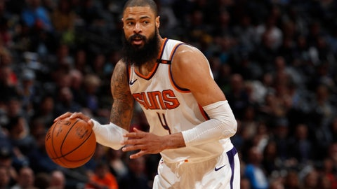 <p>               FILE - In this Jan. 19, 2018, file photo, Phoenix Suns center Tyson Chandler (4) looks to pass the ball during the team's NBA basketball game against the Denver Nuggets in Denver.  Chandler signed with the Los Angeles Lakers on Tuesday, Nov. 6, 2018, two days after reaching a buyout agreement with the Suns. The 36-year-old Chandler will provide needed frontcourt depth for the Lakers, who have relied on JaVale McGee and undersized forwards to guard big men during their 4-6 start to the season. (AP Photo/David Zalubowski, File)             </p>
