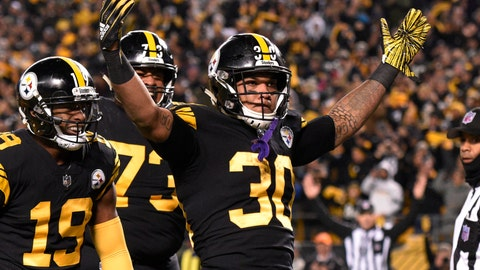 <p>               Pittsburgh Steelers running back James Conner (30) celebrates his touchdown against the Carolina Panthers during the first half of an NFL football game in Pittsburgh, Thursday, Nov. 8, 2018. (AP Photo/Don Wright)             </p>