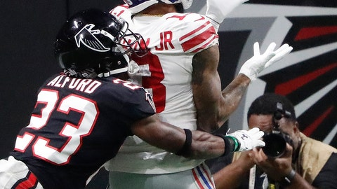 <p>               New York Giants wide receiver Odell Beckham (13) makes the catch against Atlanta Falcons cornerback Robert Alford (23) during the second half of an NFL football game, Monday, Oct. 22, 2018, in Atlanta. The Atlanta Falcons won 23-20. (AP Photo/John Bazemore)             </p>