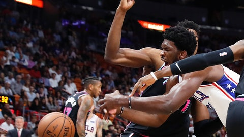 <p>               Philadelphia 76ers center Joel Embiid goes for the ball against the Miami Heat in the first quarter of an NBA basketball game Monday, Nov. 12, 2018, in Miami. (AP Photo/Brynn Anderson)             </p>