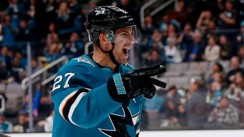 <p>               San Jose Sharks' Joonas Donskoi (27) celebrates after scoring goal against the Calgary Flames in the second period of an NHL hockey game in San Jose, Calif., Sunday, Nov. 11, 2018. (AP Photo/Josie Lepe)             </p>