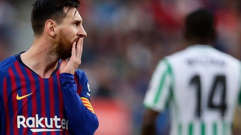 <p>               FC Barcelona's Lionel Messi gestures during the Spanish La Liga soccer match between FC Barcelona and Betis at the Camp Nou stadium in Barcelona, Spain, Sunday, Nov. 11, 2018. (AP Photo/Manu Fernandez)             </p>