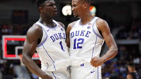 <p>               FILE - In this Aug. 15, 2018, file photo, Duke's Zion Williamson, left, and Javin DeLaurier celebrate during the team's exhibition basketball game against Ryerson in Mississauga, Ontario. The Duke juggernaut heads to paradise, where college basketball's most talked-about team will be even more in the spotlight at the Maui Invitational. The top-ranked Blue Devils should be able to handle it. They're 5 for 5 at the Lahaina Civic Center: five trips to Maui, five additions to the already-full trophy case for the trip home. This, of course, is a new team with new stars like Barrett and Williamson, but these freshmen have embraced the spotlight's glare so far and there's little reason to believe it will be any different in Maui. (Mark Blinch/The Canadian Press via AP, File)             </p>