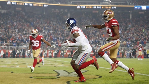 <p>               New York Giants wide receiver Odell Beckham Jr., center, scores in front of San Francisco 49ers cornerback Ahkello Witherspoon, right, and defensive back Antone Exum (38) during the second half of an NFL football game in Santa Clara, Calif., Monday, Nov. 12, 2018. (AP Photo/Tony Avelar)             </p>