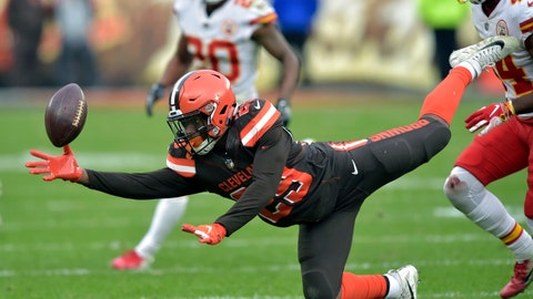 <p>               Cleveland Browns running back Duke Johnson (29) reaches but cannot catch a pass during the second half of an NFL football game against the Kansas City Chiefs, Sunday, Nov. 4, 2018, in Cleveland. (AP Photo/David Richard)             </p>