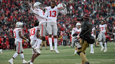 <p>               Ohio State cornerbacks Tyreke Johnson (13) and Kendall Sheffield, left center, celebrate after an NCAA football game against Maryland, Saturday, Nov. 17, 2018, in College Park, Md. Ohio State won 52-51 in overtime. (AP Photo/Nick Wass)             </p>