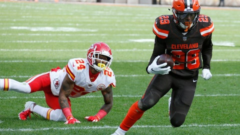 <p>               Cleveland Browns running back Duke Johnson (29) breaks free from Kansas City Chiefs strong safety Jordan Lucas (24) for a 19-yard touchdown during the first half of an NFL football game, Sunday, Nov. 4, 2018, in Cleveland. (AP Photo/Ron Schwane)             </p>