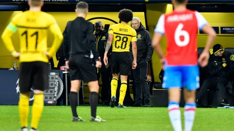 <p>               Dortmund's Axel Witsel leaves the field during the Champions League group A soccer match between Borussia Dortmund and Club Brugge in Dortmund, Germany, Wednesday, Nov. 28, 2018. (AP Photo/Martin Meissner)             </p>