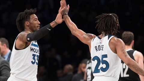 <p>               Minnesota Timberwolves forward Robert Covington (33) and guard Derrick Rose (25) celebrate after Covington scores a goal during the second half of an NBA basketball game, Friday, Nov. 23, 2018, in New York. The Timberwolves won 112-102. (AP Photo/Mary Altaffer)             </p>