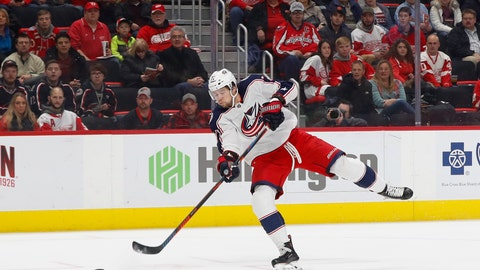 <p>               Columbus Blue Jackets right wing Josh Anderson (77) shoots against Detroit Red Wings goaltender Jimmy Howard in the first period of an NHL hockey game Monday, Nov. 26, 2018, in Detroit. Anderson scored on the play. (AP Photo/Paul Sancya)             </p>