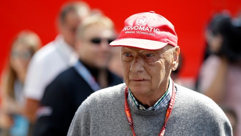 """<p>               FILE - In this July 7, 2018 file photo former Formula One World Champion Niki Lauda of Austria walks in the paddock before the third free practice at the Silverstone racetrack, Silverstone, England. Niki Lauda hopes to """"soon"""" be back working with Mercedes as he continues his recovery from a lung transplant. The three-time Formula One champion was smiling and cheery as he posted a message on the Mercedes team's Twitter account on Saturday, Nov. 24. (AP Photo/Luca Bruno, file)             </p>"""