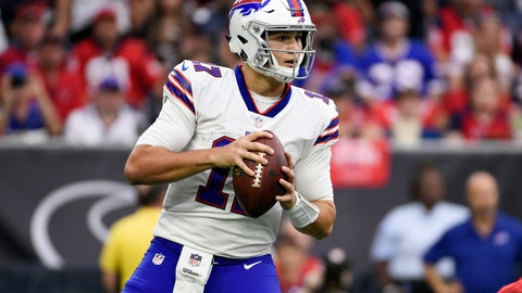 <p>               FILE - In this Oct. 14, 2018, file photo, Buffalo Bills quarterback Josh Allen looks to pass against the Houston Texans during the first quarter of an NFL football game in Houston. Rookie quarterback Allen has resumed practicing for the first time since spraining his right throwing elbow, though coach Sean McDermott says it is too early to determine whether he can play against the New York Jets this weekend. (AP Photo/Eric Christian Smith, File)             </p>