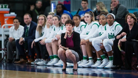 <p>               Notre Dame head coach Muffet McGraw, front, watches from the sideline during the first half of an NCAA women's college basketball game against Gonzaga in Vancouver, British Columbia on Thursday, Nov. 22, 2018. (Darryl Dyck/The Canadian Press via AP)             </p>