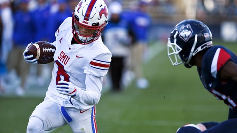 <p>               SMU running back Braeden West (6) scores the team's fourth touchdown in the first half of an NCAA college football game against Connecticut, Saturday, Nov. 10, 2018, in East Hartford, Conn.(AP Photo/Stephen Dunn)             </p>