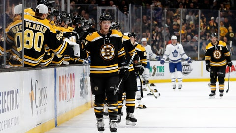 <p>               As hats come out of the stands, Boston Bruins' David Pastrnak is congratulated at the bench after scoring his third goal of the game during the third period of Boston's 5-1 win over the Toronto Maple Leafs in an NHL hockey game Saturday, Nov. 10, 2018, in Boston. (AP Photo/Winslow Townson)             </p>