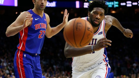 <p>               Philadelphia 76ers center Joel Embiid (21) and Detroit Pistons center Zaza Pachulia (27) chase a loose ball during the second half on an NBA basketball game, Saturday, Nov. 3, 2018, in Philadelphia. The 76ers won 109-99. (AP Photo/Laurence Kesterson)             </p>