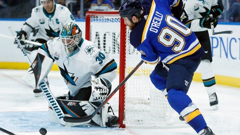 <p>               St. Louis Blues' Ryan O'Reilly (90) tries to get off a shot as San Jose Sharks goaltender Aaron Dell (30) defends during the second period of an NHL hockey game Friday, Nov. 9, 2018, in St. Louis. (AP Photo/Jeff Roberson)             </p>