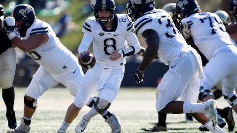 <p>               Pittsburgh's Rafael Kenny Picket (8) fakes a hand off to Qadree Ollison (30) against Wake Forest during the first half of their NCAA college football game Saturday, Nov. 17, 2018 in Winston-Salem, N.C. (AP Photo/Woody Marshall)             </p>