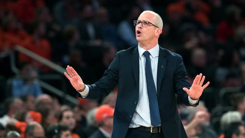 <p>               Connecticut head coach Dan Hurley reacts during the first half of an NCAA college basketball game against the Syracuse in the 2K Empire Classic, Thursday, Nov. 15, 2018, at Madison Square Garden in New York. (AP Photo/Mary Altaffer)             </p>