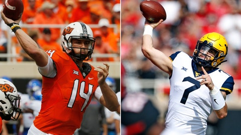 <p>               FILE - At left, in a Sept. 15, 2018, file photo, Oklahoma State quarterback Taylor Cornelius (14) passes during an NCAA college football game against Boise State, in Stillwater, Okla. At right, in a Sept. 29, 2018, file photo, West Virginia's Will Grier (7) throws a pass during the first half of an NCAA college football game against Texas Tech, in Lubbock, Texas. Taylor Cornelius, OSU's fifth-year senior and first-time starter, has thrown for 312 yards per game with 23 touchdowns. WVU's Will Grier, the Heisman Trophy contender, has thrown for 329 yards a game with 31 TDs. No. 7 West Virginia plays at Oklahoma State on Saturday, Nov. 17. (AP Photo/File)             </p>