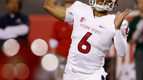 <p>               Fresno State Bulldogs quarterback Marcus McMaryion passes against the UNLV Rebels during the first half of an NCAA college football game Saturday, Nov. 3, 2018, in Las Vegas. (AP Photo/John Locher)             </p>